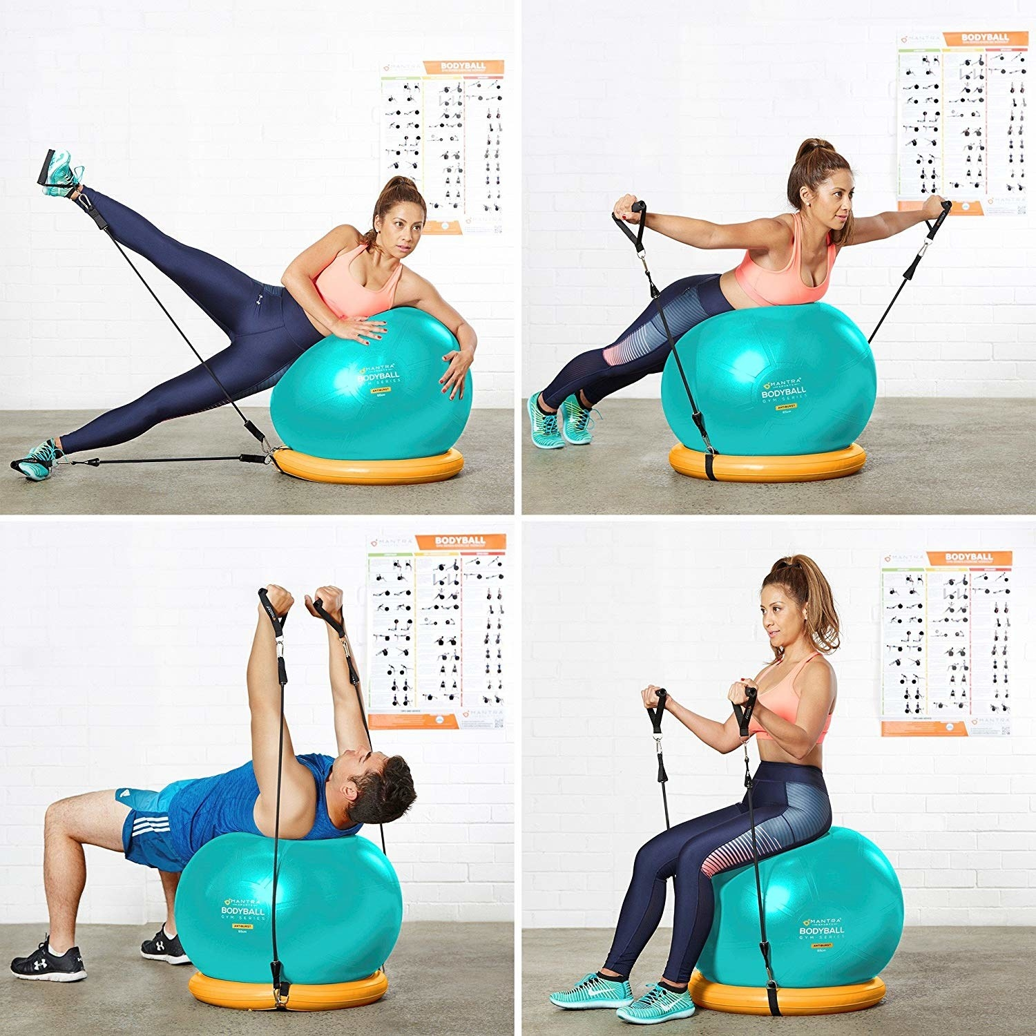 Four images of people working out with the large ball and straps in different ways