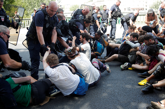Riot Police Teargassed Climate Protesters At Point-Blank Range
