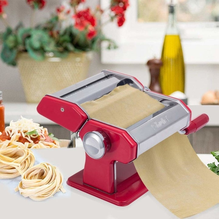 the red pasta roller and cutter