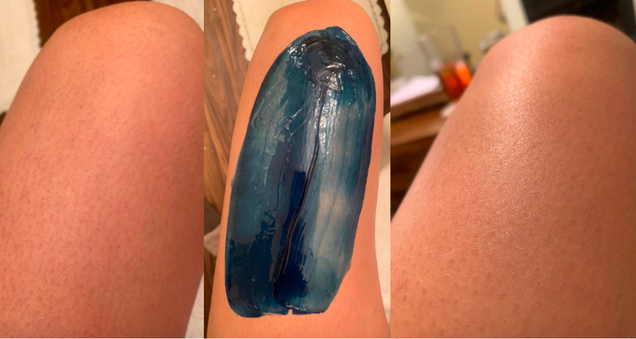 a reviewer's leg with fine hair on the left, the same leg with blue wax in the center, the same leg with no hair on the right