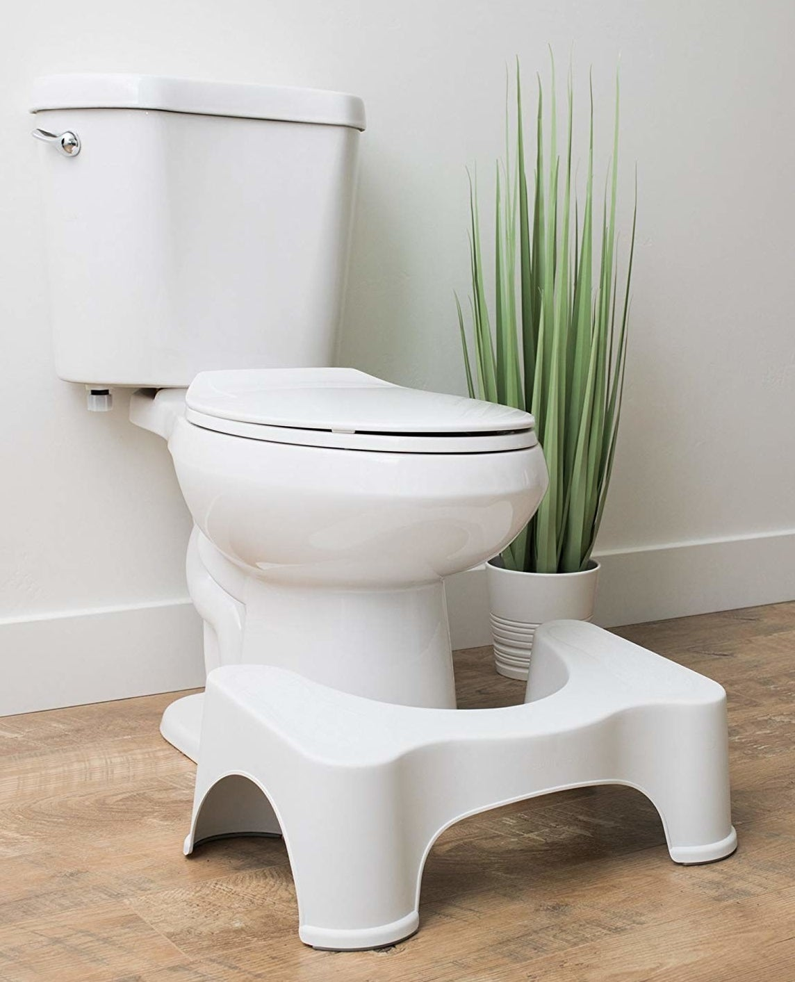 The squatty potty in front of a toilet