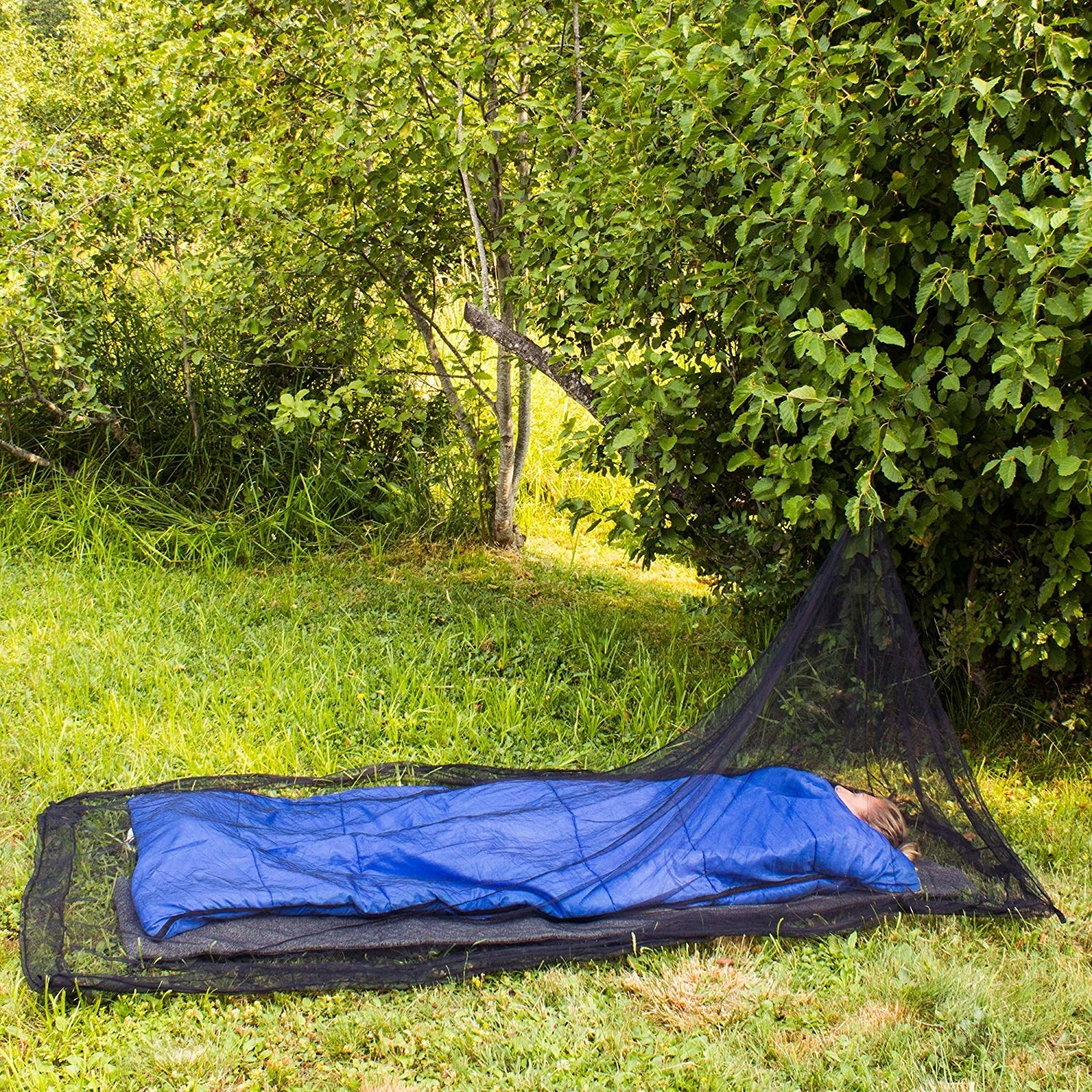 person in a sleeping bag on grass with the sheer net tent surrounding them, hung up from a low tree branch
