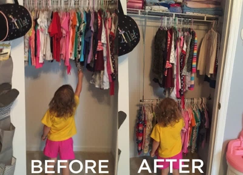 Review photo of before and after adding the rod to the closet, on the left a child standing in front of the closet barely reaching the clothes and on the right, the double rod making the child able to reach the clothes and also store twice as much
