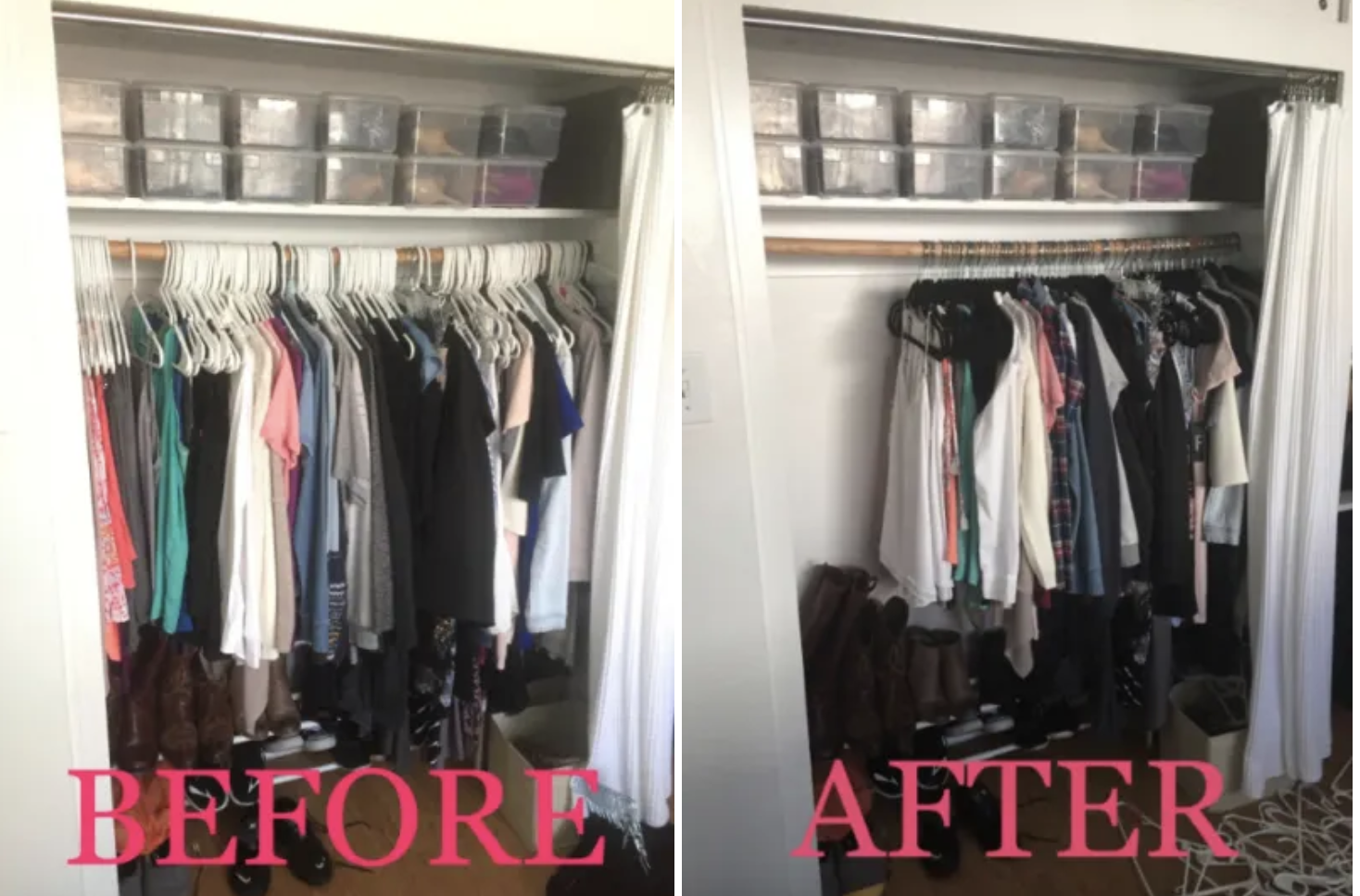 Reviewer photo of before and after using the hangers, on the left a closet filled all the way across with hanger and clothes, on the right the same closet but this time the clothes are only taking up about half as much space with the velvet hangers
