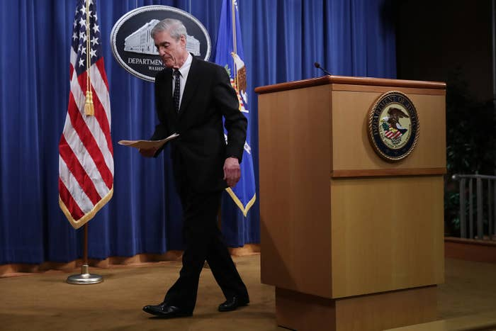 Special counsel Robert Mueller walks away from the podium after making a statement about the Russia investigation, May 29.