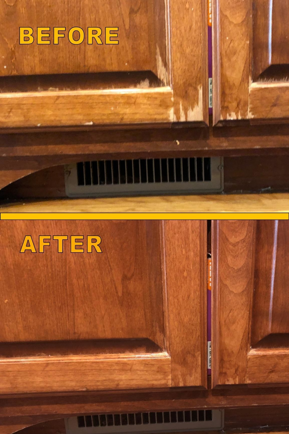 A review image of worn-out, semi-stripped cabinets before, and then solid color polished cabinets after
