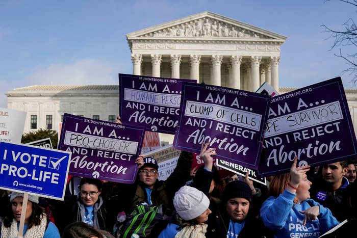 Anti-abortion marchers rally at the Supreme Court during the March for Life rally in January.