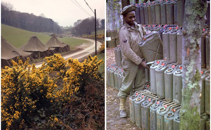 Left: Roadside tents awaiting soldier occupants shortly before the D-Day invasion of France. Right: An American corporal stacks cans of gasoline in Stratford-upon-Avon, England, in preparation for the upcoming invasion.