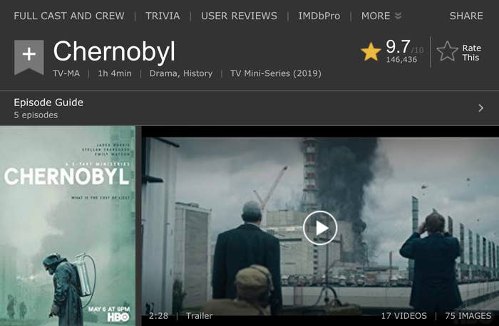 "HBO's ""Chernobyl"" Just Became The Top-Rated Show Of All Time On IMDb"