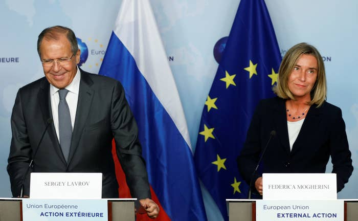 Russian Foreign Minister Sergey Lavrov and European Union foreign policy chief Federica Mogherini address a joint news conference after a meeting in Brussels in July 2017.
