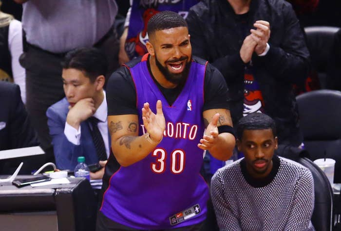 Drake reacts during Game 1 of the 2019 NBA Finals between the Golden State Warriors and the Toronto Raptors at Scotiabank Arena on May 30 in Toronto.