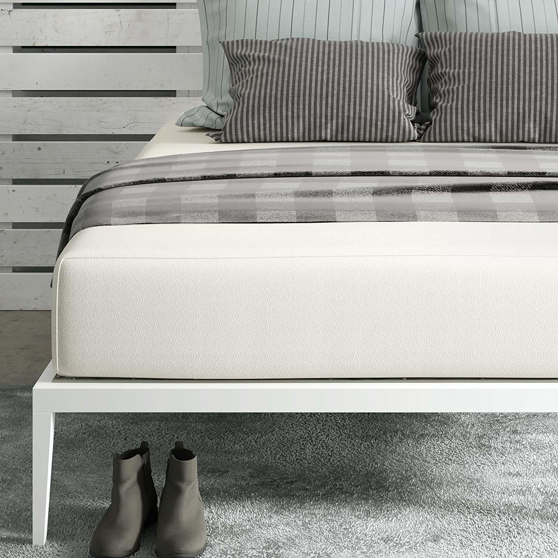Large mattress on basic bed frame