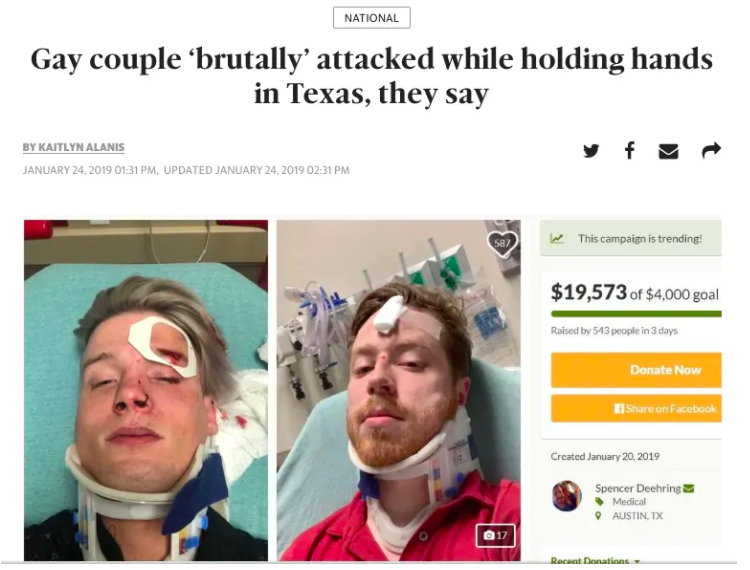 News headline: Gay couple brutally attacked while holding hands in Texas they say