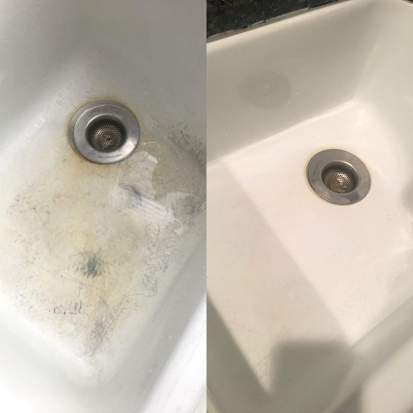 On the left, a white porcelain sink with grey scratches and yellow-brown stains; on the right, the same sink with no scratches or stains