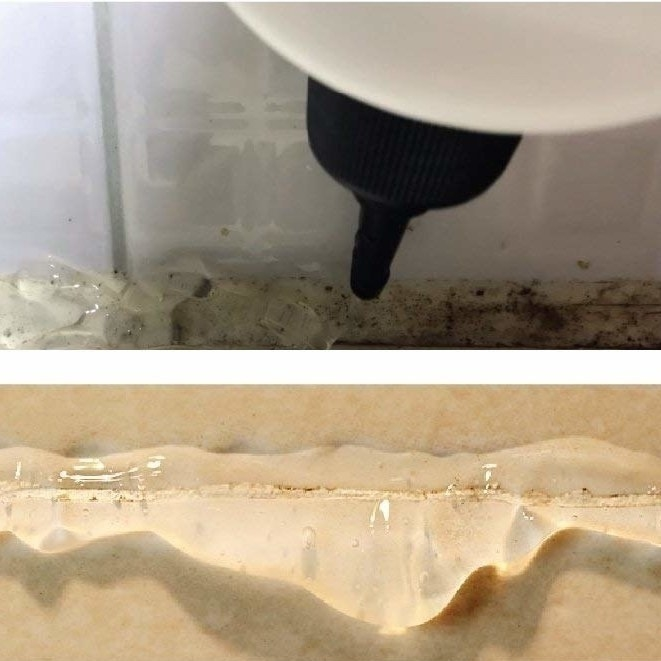 thick clear gel sticking to moldy grout; close-up for bottle's cap to show how it lets out only a thin line of gel at a time
