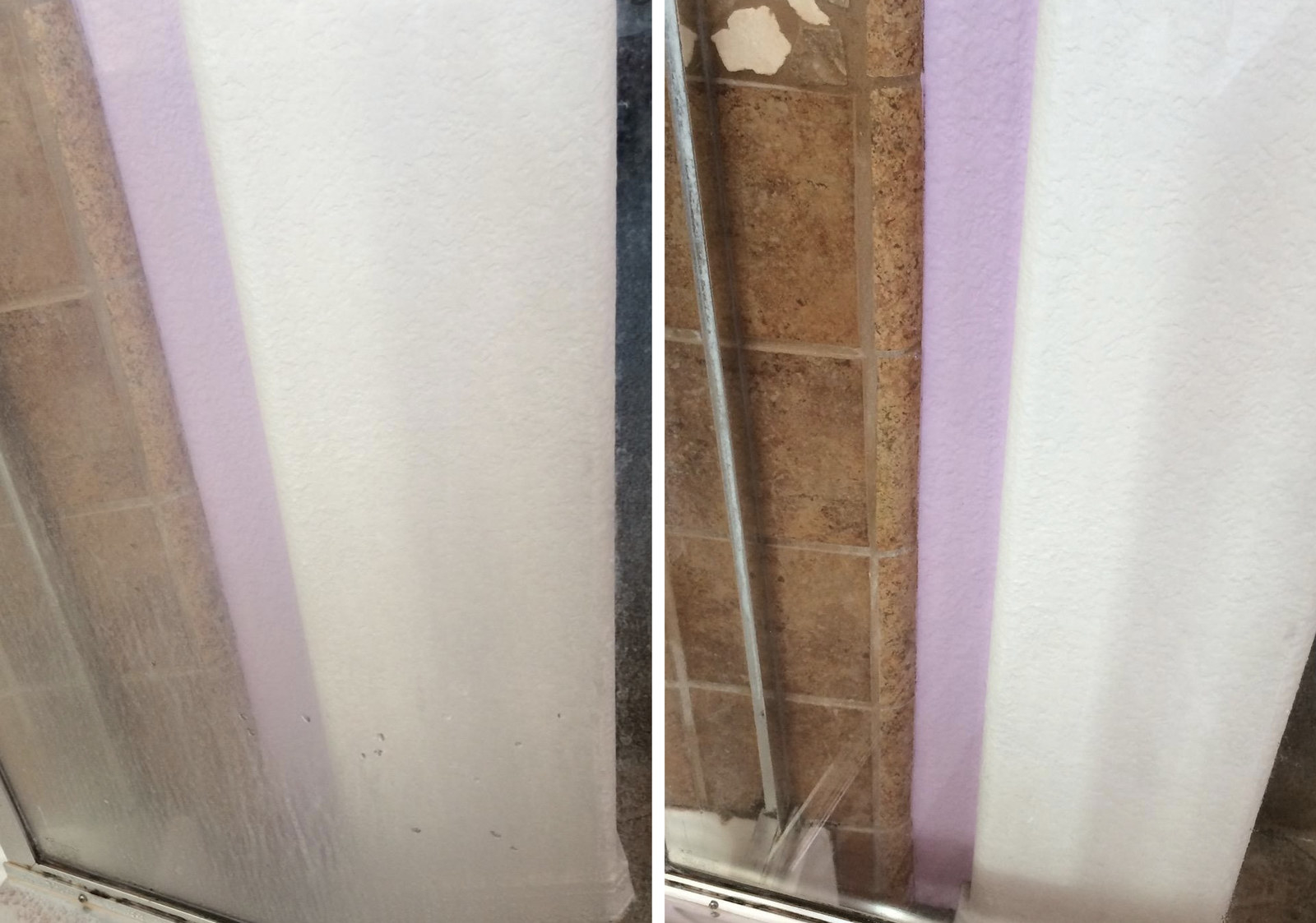 Amazon reviewer's glass shower door before, almost opaque with the mineral buildup, and after, no gunk in sight and completely see-through and clear