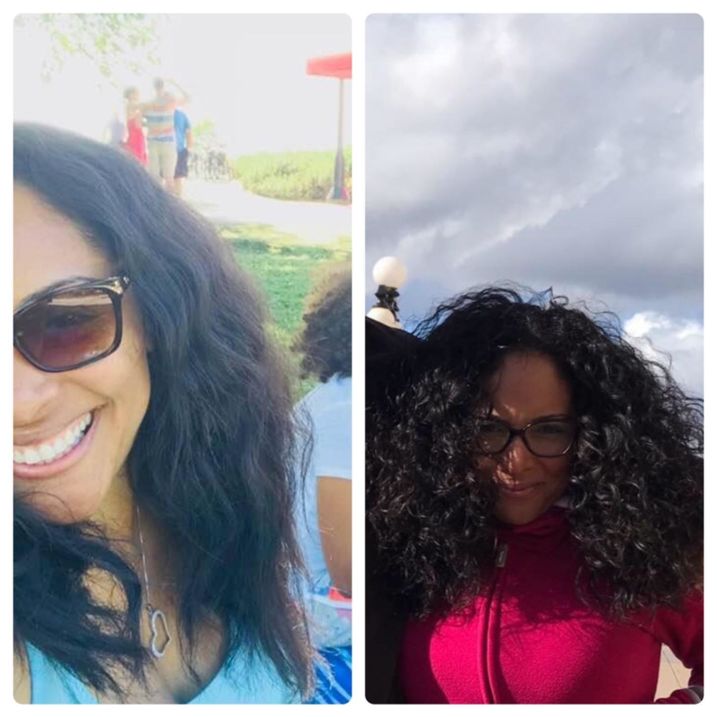Reviewer with wavy hair on the left, and defined curls on the right
