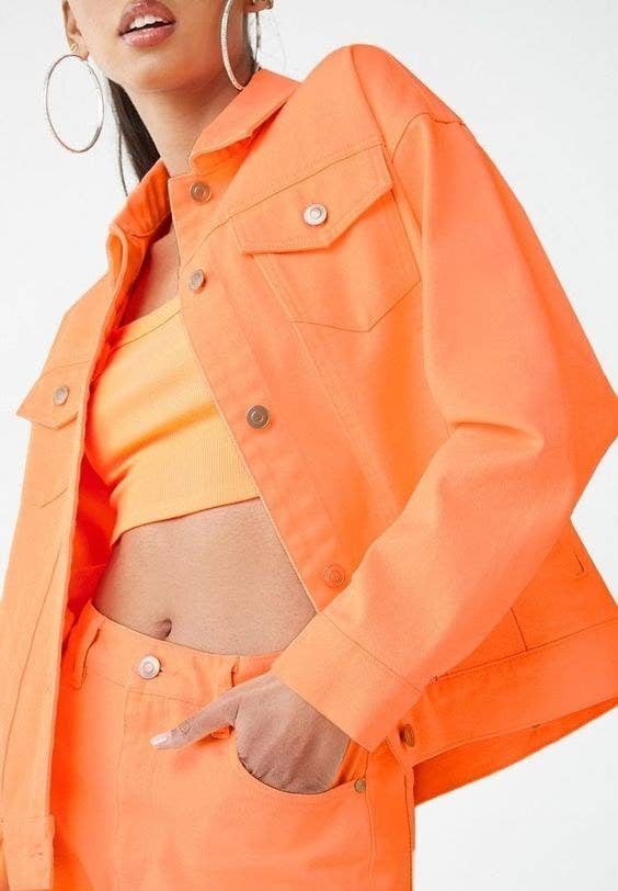83ccd254824acc A neon denim jacket to top off all your ensembles with a fun, vibrant pop  of color. Plus! You can wear this well into fall to battle gray skies. Forever  21