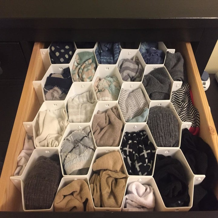 The same drawer, with the socks neatly organized in the dividers