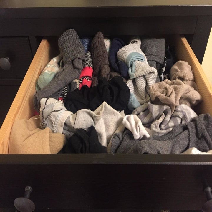 A reviewer's drawer with jumbled socks