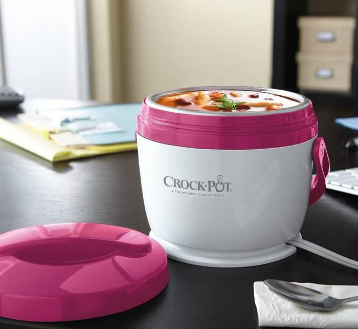 Small Crock Pot warmer filled with soup and placed on desk