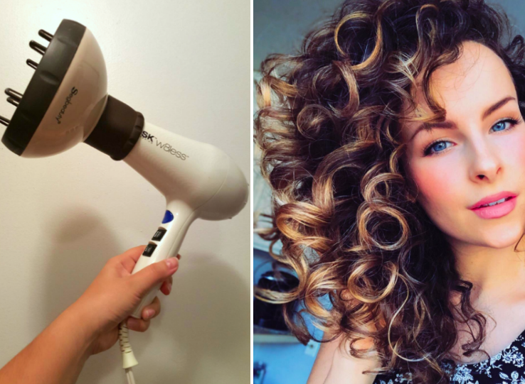 Two review photos. The first photo shows the diffuser on the hair dryer. The second is a reviewer with curly hair after using the diffuser.