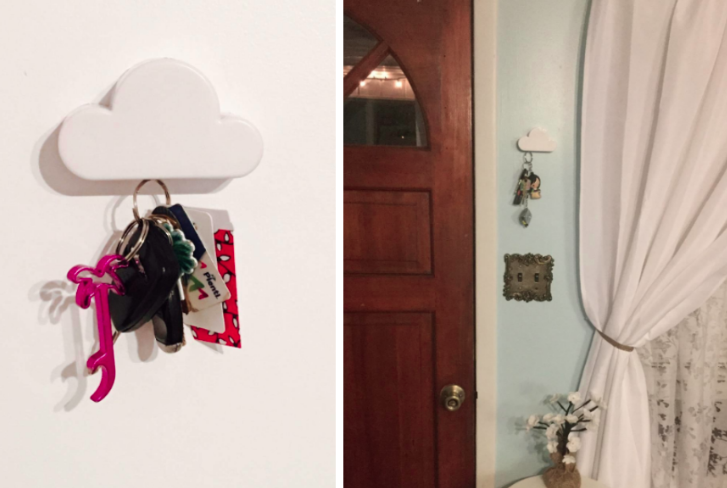 Reviewer photos showcasing the magnetic cloud and keys hanging off of them. Second photo shoes the cloud right next to the front door for convenient access.