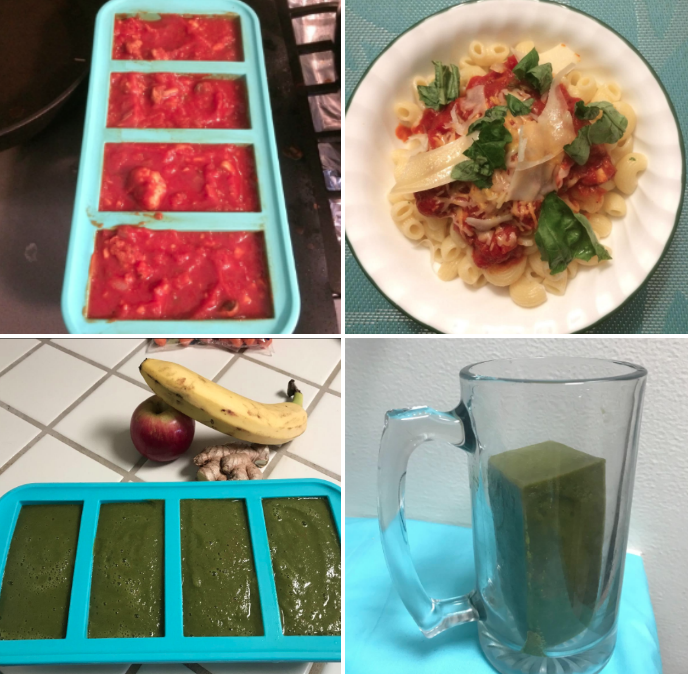 Reviewer photos showing the trays filled with a green smoothie and pasta sauce, respectively, and the pasta serving heated and the juice serving in a glass