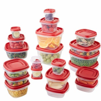 The containers with lids on