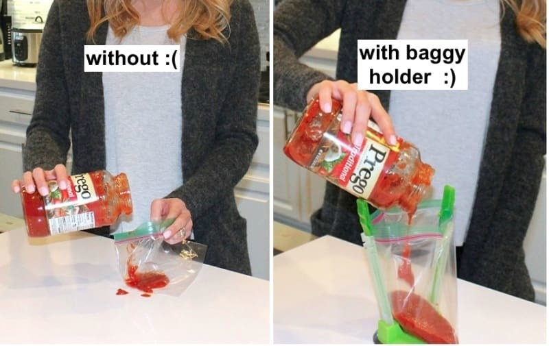 Two photos of a model demonstrating how to use the baggy clips. Without, the sauce easily spills out of the bag, but with the baggy clip, the model is able to easily dump the sauce in.