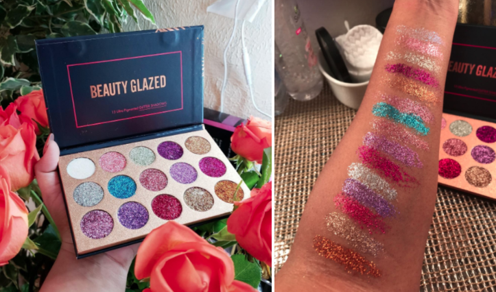 Review images of glitter eyeshadow swatched on arm, showing how pigmented and sparkly the colors are
