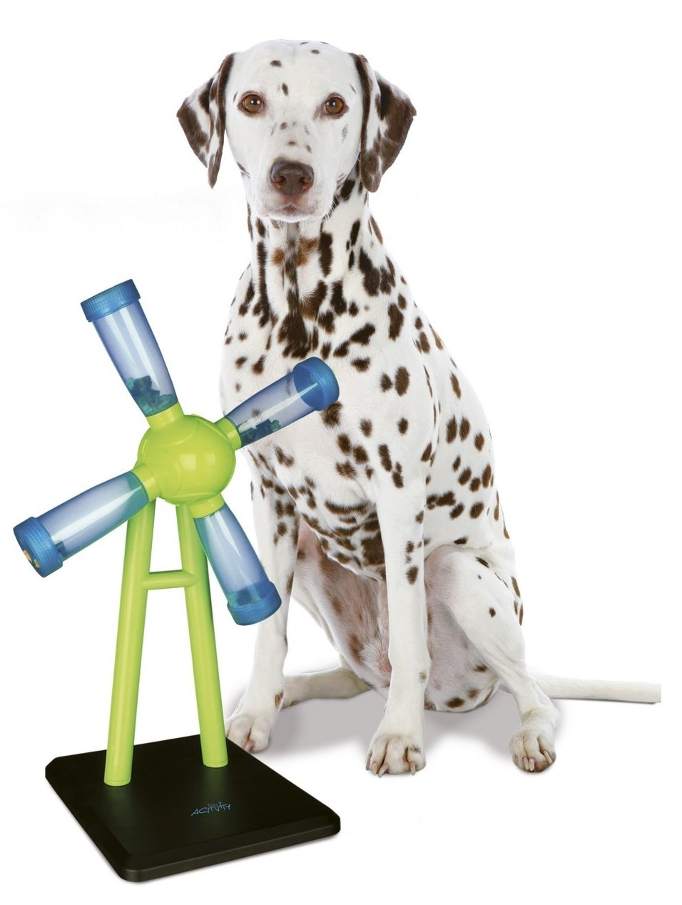 A windmill shaped feeder on a black base with four tubes that hold dry food. The dog must push the windmill around for the dry food to fall out.