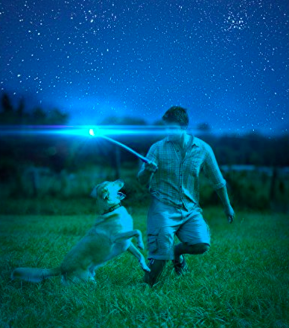 A person playing fetch with their dog at night. They are using a ball launcher and the ball is glowing.