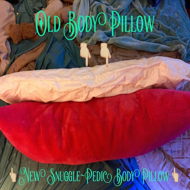 reviewer showing how thick this pillow is in comparison to their old body pillow