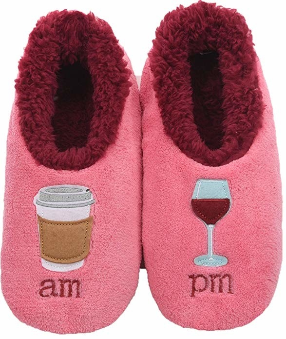 "pink slippers with a coffee and ""a.m."" on one and a glass of wine and ""p.m."" on the other"