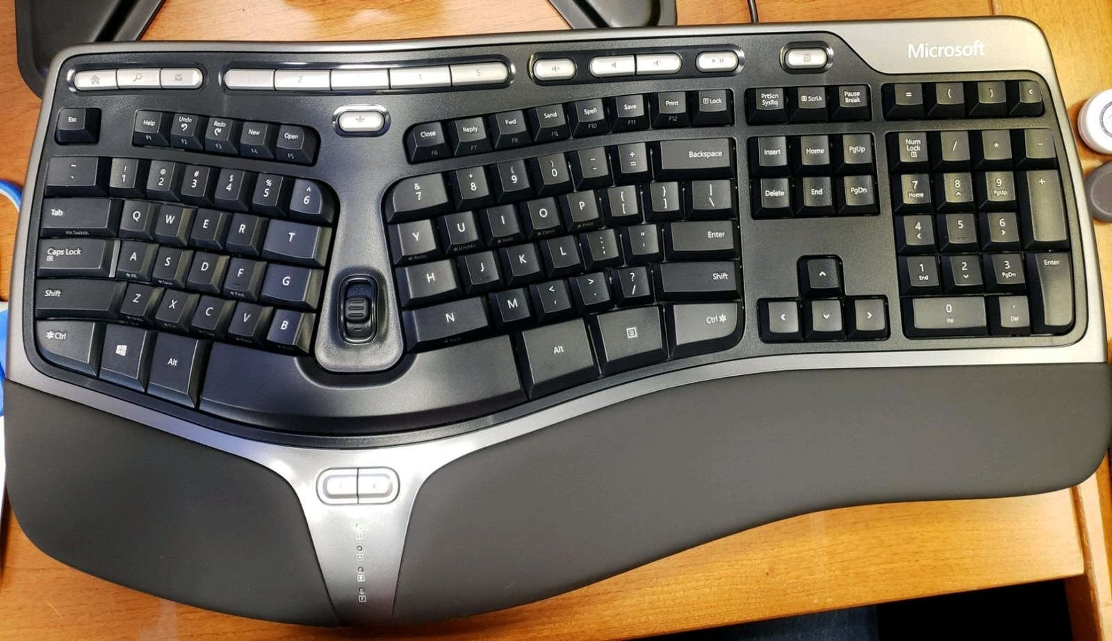 Reviewer photo of the split keyboard, which has a curved wrist rest