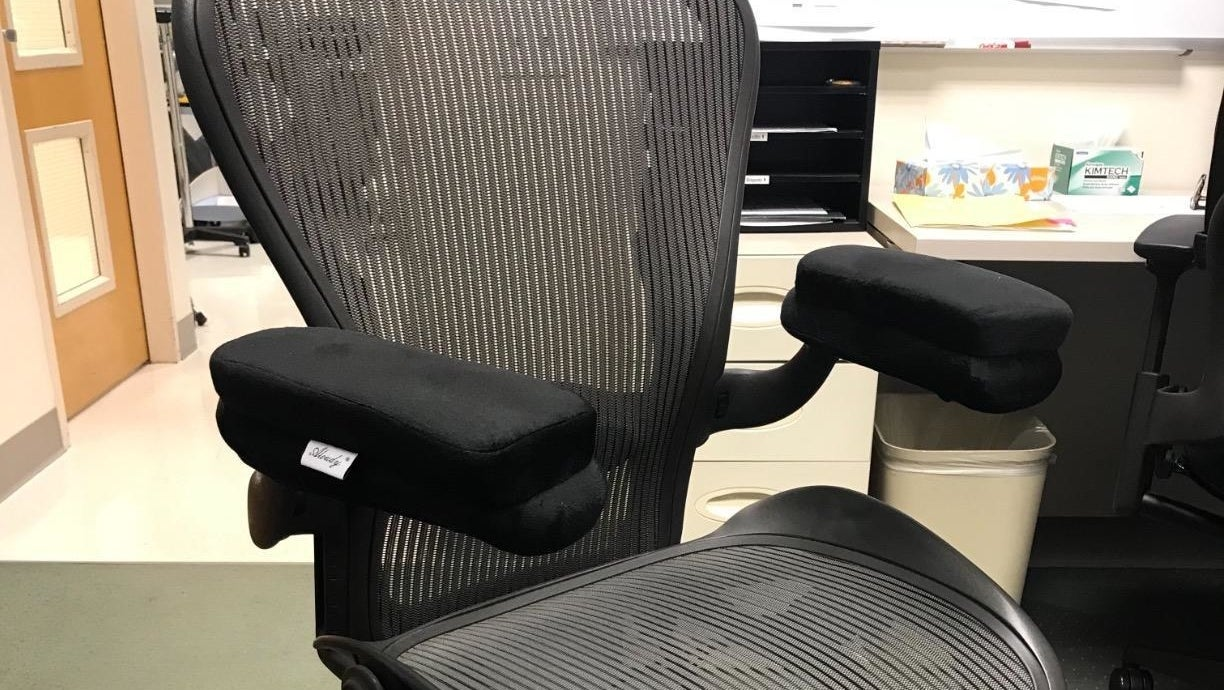Reviewer photo of the armrest pads on a desk chair