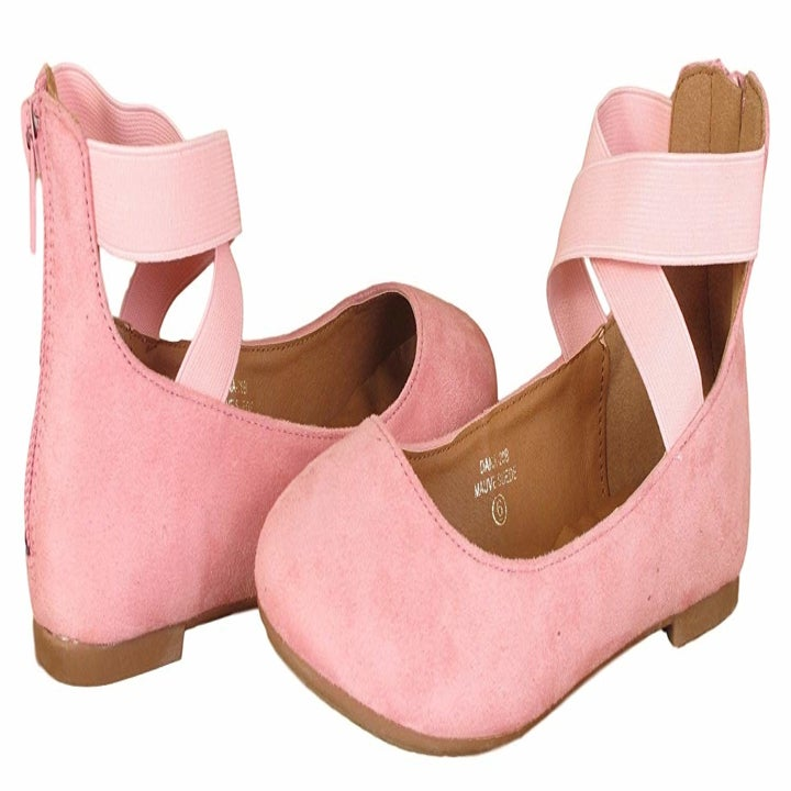 close up of the shoes in pink suede