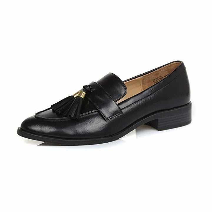 the loafer in black with tassel on the top