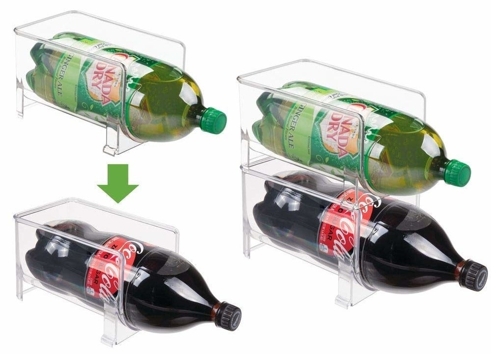 The stackable holders with two-liter soda bottles inside them