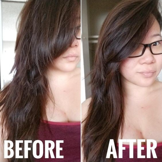 Reviewer's before and after to show their frizzy, damaged hair, and then smoother, healthier-looking hair