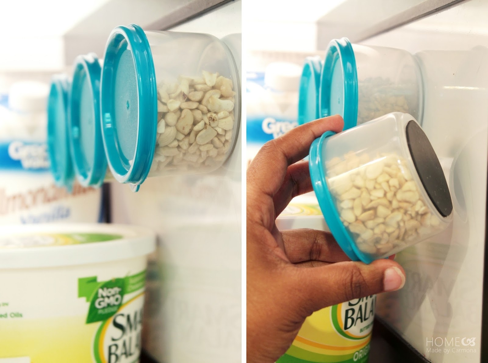 Blogger photo of food containers with magnets on the bottom sitting on the side of the fridge