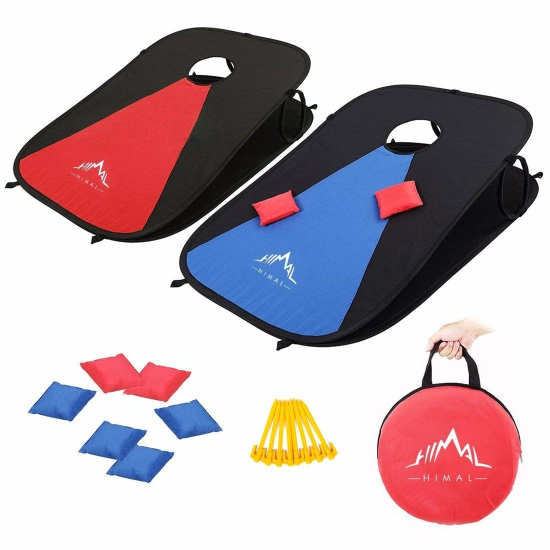 pop up corn hole in red and blue with a carrying kit