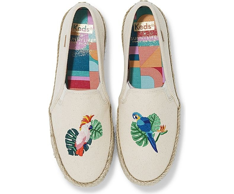 a pair of shoes, the left has a cockatiel on it the right has a blue parrot