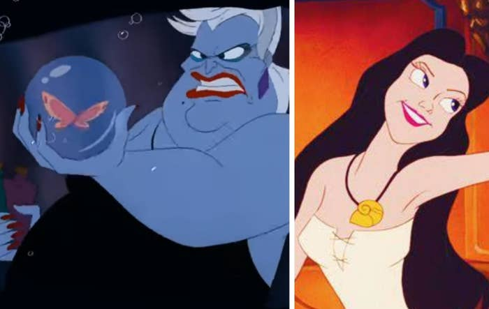 Ursula holding a butterfly in a bubble on the left, and Ursula transformed into Vanessa on the right