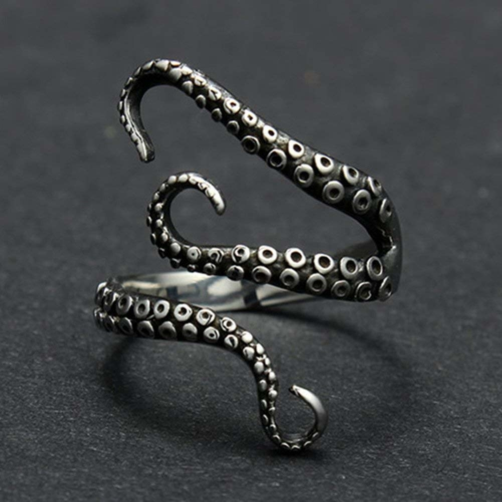 ring with three tentacles. its open so you can adjust the size of the ring