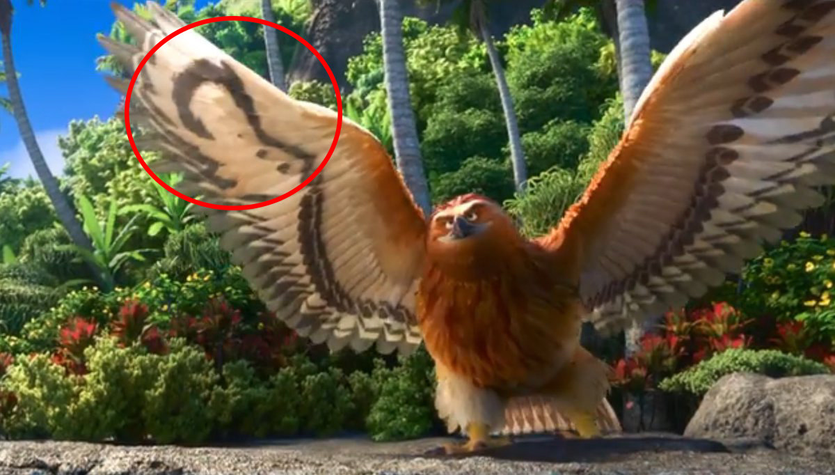 Maui transformed into a giant hawk, with the patterns on his win feathers shaped like a hook