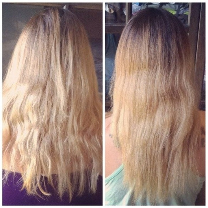 A reviewer's before and after, showing how the product helped smooth out their hair
