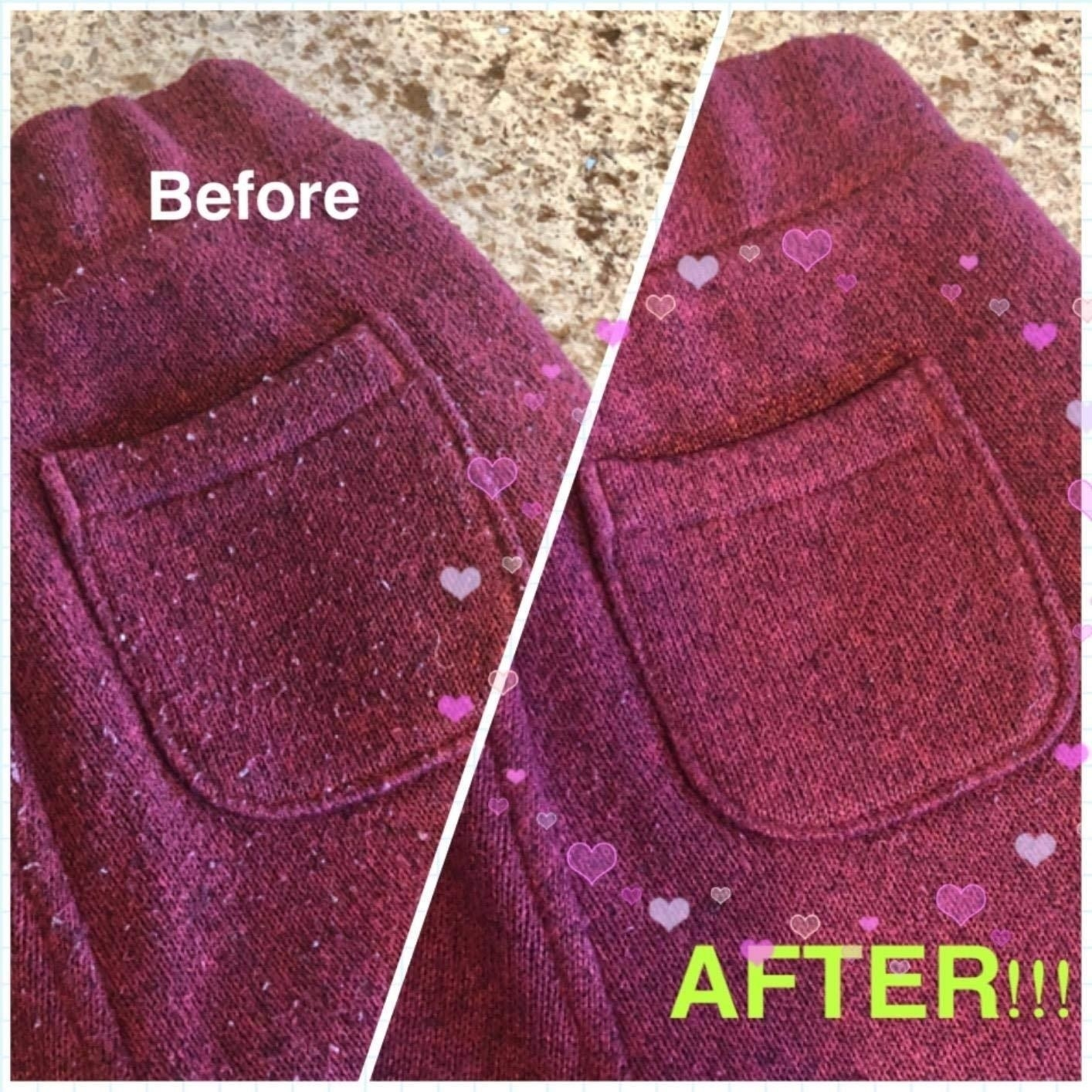 A reviewer's cardigan before: with lots of pills on the front and pocket and after: with no more pills in sight