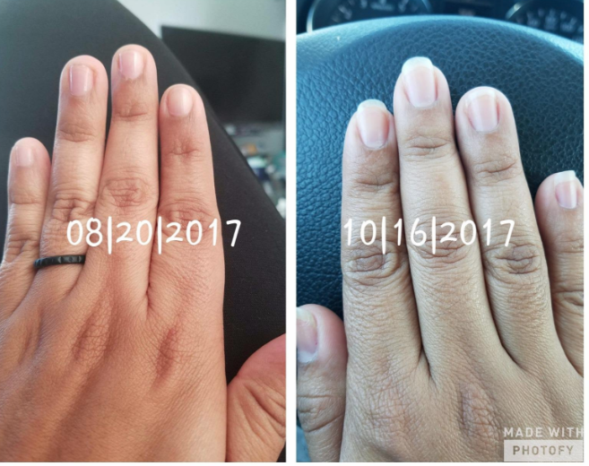 Reviewer photos of nails before and after using the polish, over a span of two months. Nails show significant growth